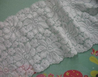 "6"" width beautiful WHITE double side shimmery scroll STRETCH lace trim for altered your fashion and lingerie designs"
