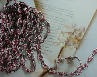 """10 yards 3/8"""" width red cherry , pink, green floral braid trims"""