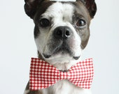 Dog Bow Tie - Red and White Checkered - Retro Inspired - Christmas Accessory - LAST ONE