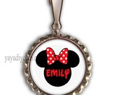 Personalized Backpack Zipper Pull Charm,Kids Lunch Bag ID tag, Personalized Zipper Pulls - Disney Minnie Mouse red