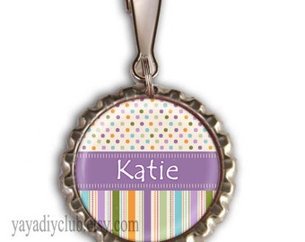 Personalized Girls Backpack Zipper Pull Charm - Purple Multicolor dots and stripes - kids birthday party favors, girl stocking stuffers