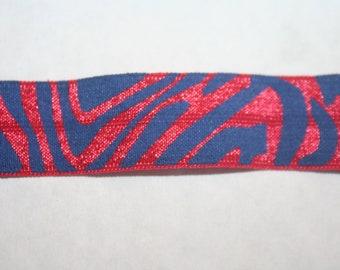 4 yds Navy Blue Red Zebra Tiger animal print shiny baby headband DIY Hair Ties FOE stretch foldover fold over elastic