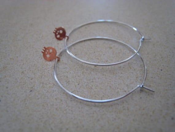 ROSE GOLD Teeny Tiny mini Skull charm on silver hoop earrings so dainty and cute