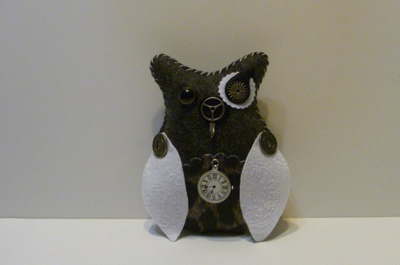 steampunk owl / time clock lifetime / journey muse token / metal gear and cog / black and white fiber art / handmade gift