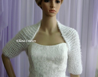 Vintage Inspired Knitted Bolero with Elbow Length Sleeves.