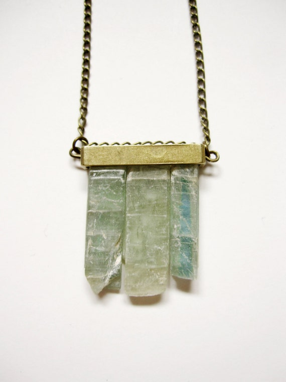 Green blue raw kyanite crystal minimalist necklace with brass bar - LIMITED EDITION crystal jewelry