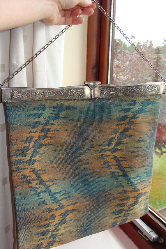 Edwardian to 1920s fabric bag on metal floral frame marked JEMCO for knitting or sewing work