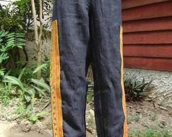 Black 100 percent hemp pants with batik/embroidery for Men