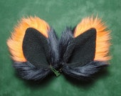 Black and Orange Fur Ears Fox Cat Wolf Coyote Dog Monster Costume Halloween Cosplay