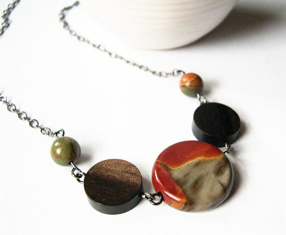 Picasso Jasper Necklace - Stone Jewelry, Wood, Beaded, Rust, Gray, Orange, Bown, Yellow, Fall Jewelry, Autumn Jewellery