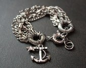 Antique Silver Anchor Bracelet with Chunky Vintage Silver Chains