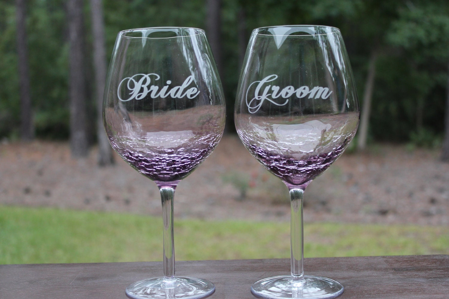2 purple crackle wine glasses wedding bridal party