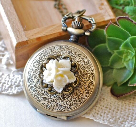 Pocket Watch Necklace White Bouquet