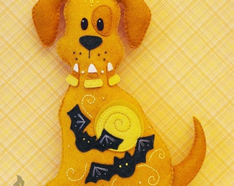 Dog Stuffed Animal Pattern - Felt Plushie Sewing Pattern & Tutorial - Spooky the Halloween Dog - Halloween Embroidery Pattern PDF
