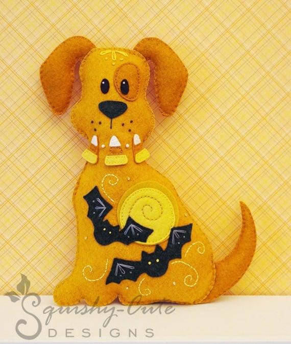 Dog Stuffed Animal Pattern - Felt Plushie Sewing Pattern & Tutorial - Spooky the Halloween Dog - Halloween Embroidery Pattern PDF