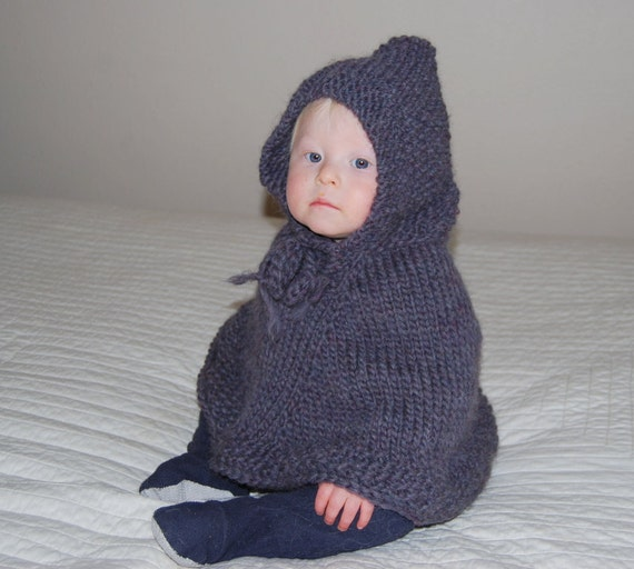 Knitted Baby Poncho Hood Pattern : Hand Knit baby poncho with hood pure soft by chicksalejunior