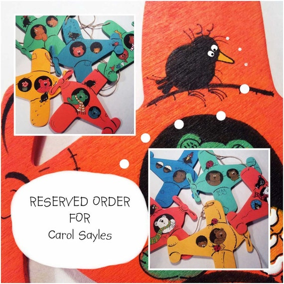 RESERVED ORDER FOR  Carol Sayles  / Bear - Air  Banner Original Handpainted Wooden Ornaments / In Set Of 2