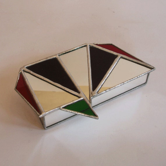 stained glass jewelry box  - geometric design lid
