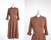 1940s Vintage Dress/ Autumn Check/ King Me