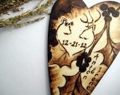 DEER Wedding cake topper -Buck Doe with oak tree leaves and berries -Personalized rustic wood heart