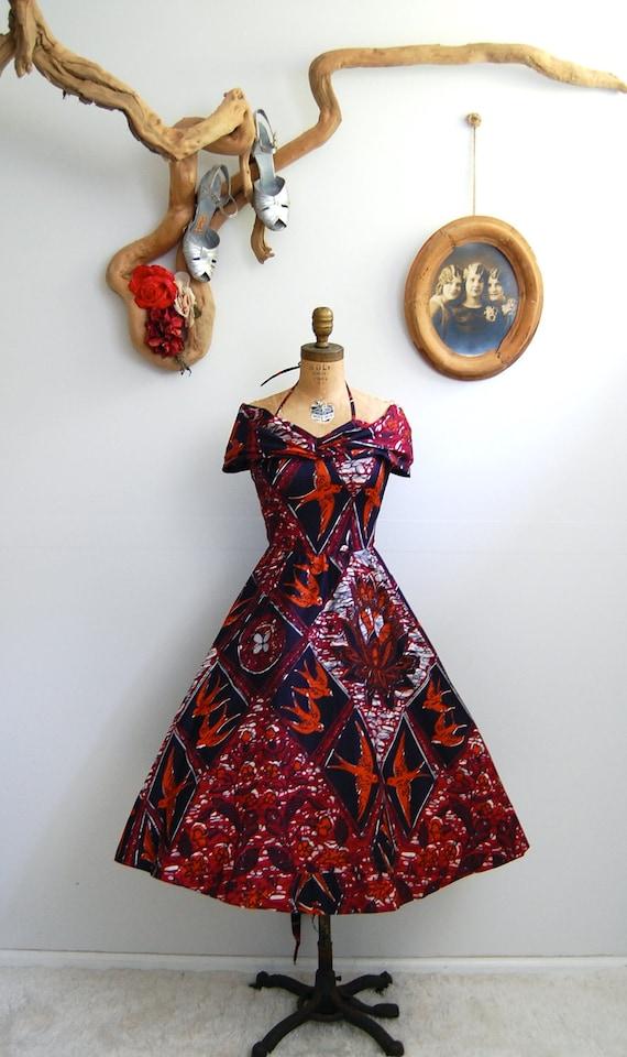 Vintage 1950s Dress 50s Jamaican Novelty Print Dress The