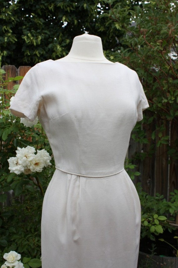 Cream Fitted Dress Off White Ivory  Linen Blend Handmade Short Sleeve Elegant Classic Traditional Madmen Mod Vintage Retro 60s Wedding