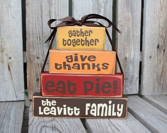 """Fall Autumn Thanksgiving  """"Give Thanks"""" Stacker Wood Block Set Primitive Fall Autumn table Thanksgiving Gift Country Wood Sign"""