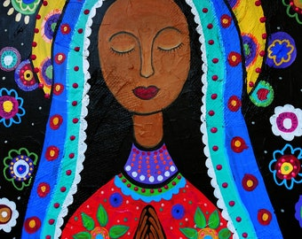 Mexican Folk Art Our Lady of  Virgin Guadalupe Painting PRINT Whimsical Flowers