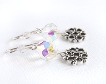 Snowflake Earrings Vintage Beads Sterling Silver Earwires Repurposed Crystal or Glass Beads AB Finish Sparkly Faceted Clear Beads