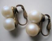 Vintage Clip On Pearl Earrings Bridal Wedding Bridesmaids Homecoming Formal
