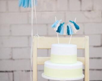 Blue Tassel Garland Cake Topper