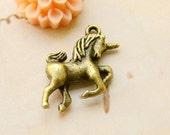 Antique Brass Unicorn Charm, 20x25mm 15 pcs