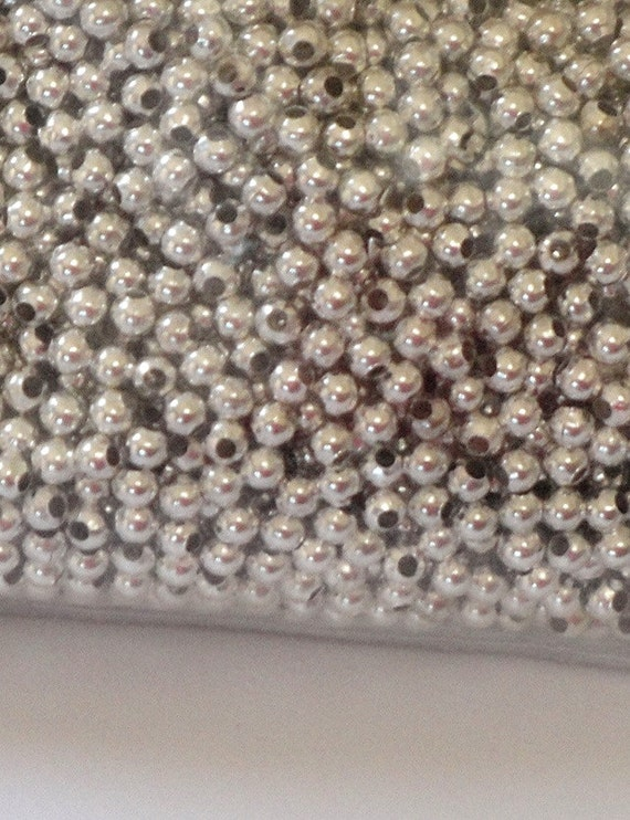 Silver Metal Round Beads - Silver Spacers Beads - Small Round Necklace Beads - 5mm - 32g. 170 Pcs - Jewelry Findings - DIY Craft Supplies