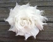 Ivory Shabby Chic Chiffon Flower Hair Clip, Toddler Hair Bow, Ivory Flower Hair Clip, Ivory Frayed Flower Hair Clip, Free Shipping Promo