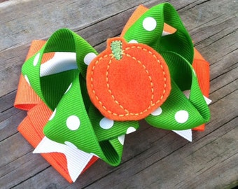 Pumpkin Hair Bow, Girls Hair Bows, Orange and Green Pumpkin Bow, Orange Pumpkin Layered Boutique Hair Bow, FREE SHIPPING PROMO