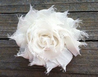 Ivory Shabby Chic Chiffon Flower Hair Clip, Toddler Hair Bow, Ivory Flower Hair Clip, Ivory Frayed Flower Hair Clip, Free Shipping Promo