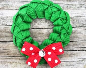 Christmas Wreath Hair Clip, Wreath Ribbon Hair Clip, Toddler Hair Clip, Christmas Hair Clip, Holiday Hair Bow,Red and Green Wreath Hair Clip
