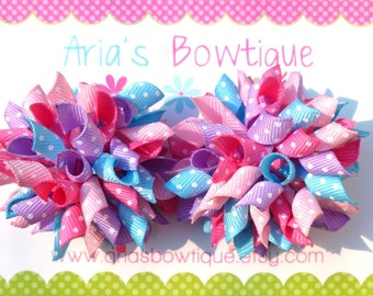 2 Light Pink, Purple, Light Blue and Hot Pink Dots Mini Korker Hair Bows