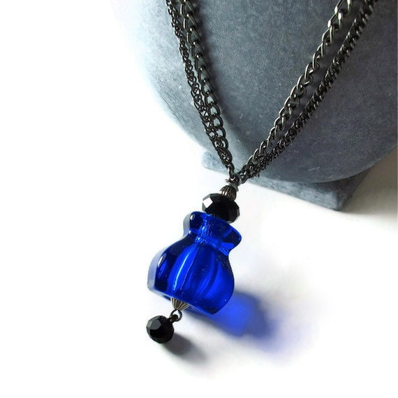 Long Blue Necklace, Blue Glass Pendant, Upcycled Jewelry