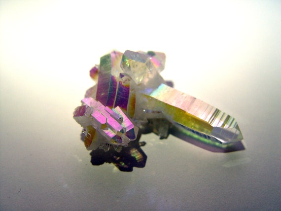 Angel Aura Quartz Crystal Cluster - Bonded with Silver and Platinum