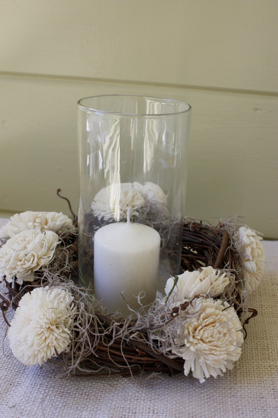 Items similar to rustic centerpiece wreath candle ring