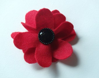 Red large flower hair alligator clip with black rhinestone button