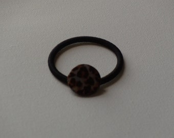 Brown leopard print iridescent shell bead ponytail holder