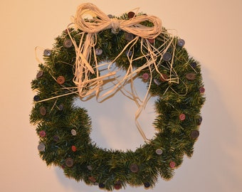 SALE: 18 inch evergreen wreath featuring vintage buttons, burgundy, gray, & navy blue, and a raffia bow