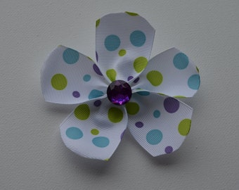 White with blue, purple, & green polka dots ribbon flower hair alligator clip with purple bling faceted rhinestone