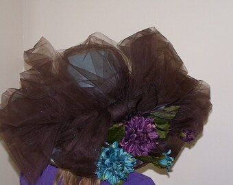 Over-the-Top Hat Turquoise Blue  Brown Netting Bow and Silk Flowers FABULOUS