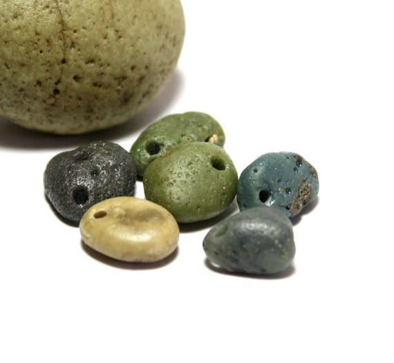 "Sea Glass Jewelry Supplies- Drilled Beach Stones River Rocks Seaglass Wholesale Beading Supply- ""Breeze"" by Allybeans"