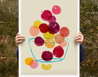 "Kitchen Art poster print - Plums - Summer Fruit Art / 20""x27"" - archival fine art giclée print"
