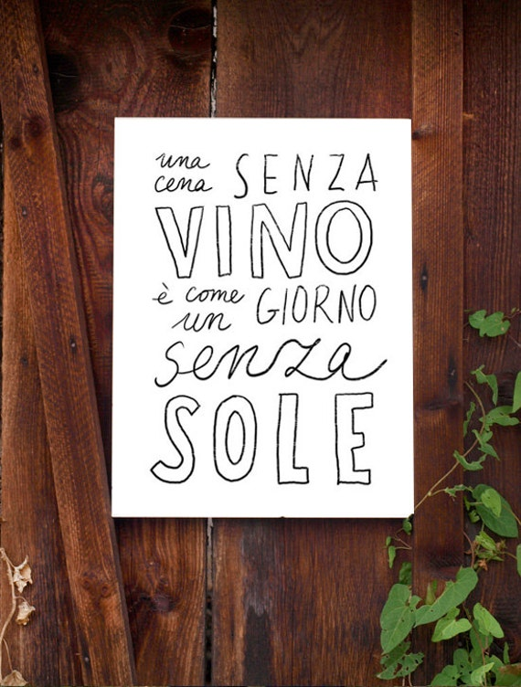 "Typography Print VINO - high quality fine art print - 11""x15 - archival fine art giclée print"