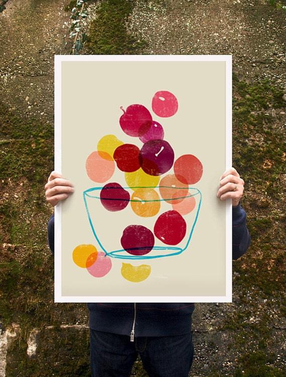 """Kitchen Art poster print - Plums - Summer Fruit Art / 20""""x27"""" - archival fine art giclée print"""